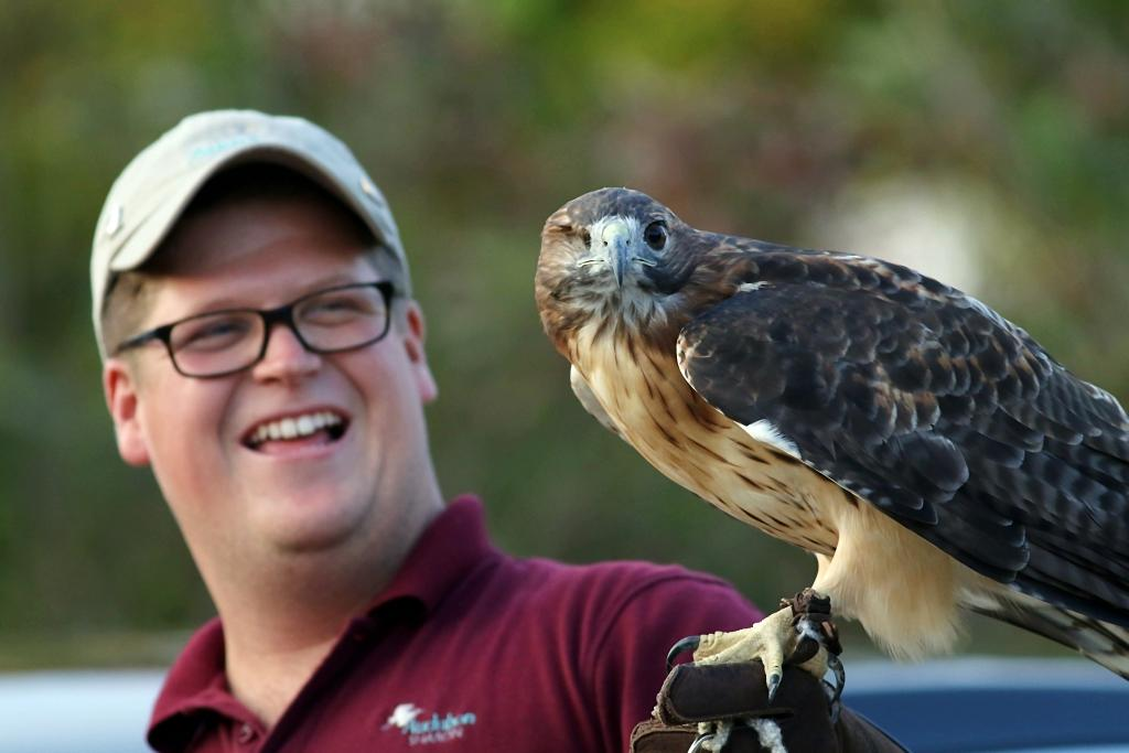 Zach Adams of Audubon Sharon with a Red-tailed Hawk. Photo: Thomas Clark